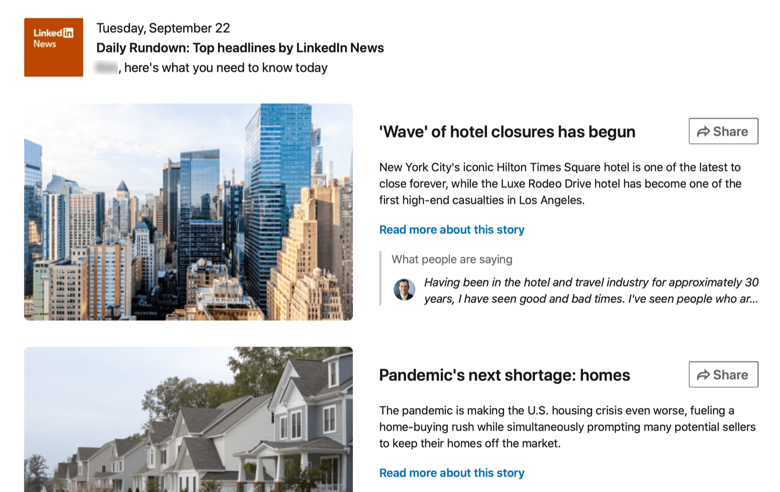 example of a linkedin news item selected for the daily rundown newsletter