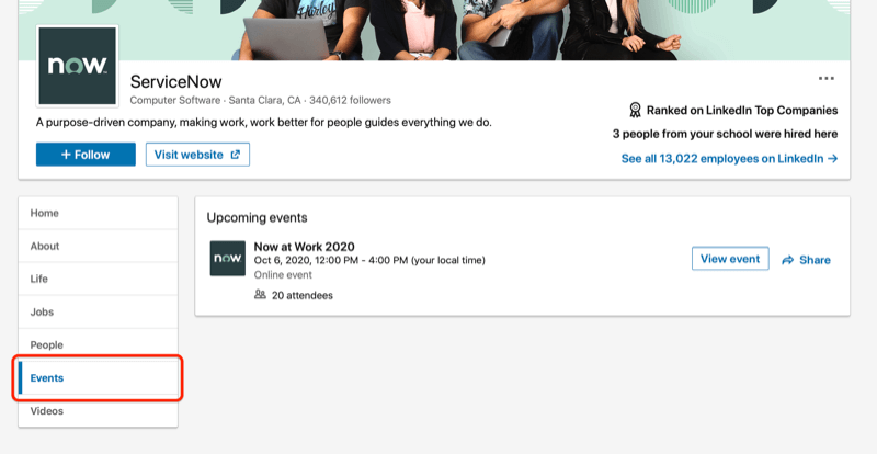 screenshot of linkedin company page highlighting the event tab for that company