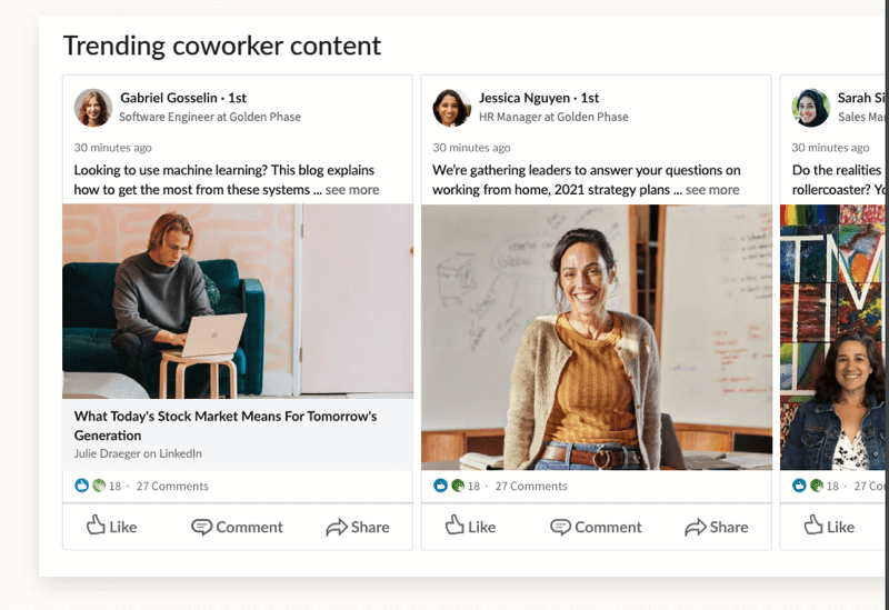 example of the screenshot of the linkedin employee trending coworker content tab and sample content