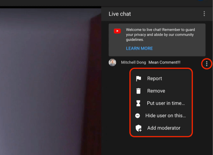 youtube live chat comment moderation options to report or remove the comment, put the user in timeout, hide the user on the channel or to add a moderator to the chat