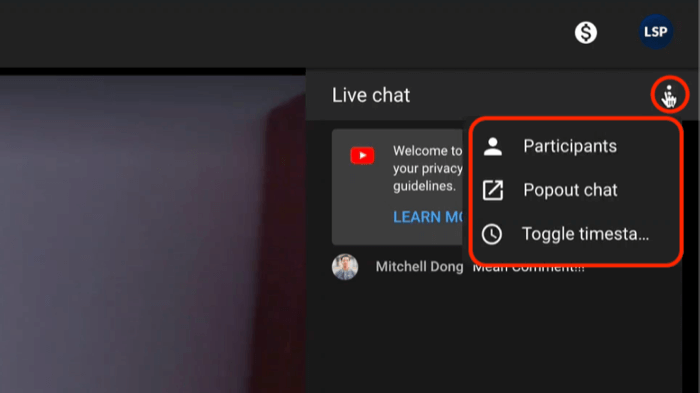 youtube live chat menu options including viewing participants and popping the chat out for better viewing and moderation