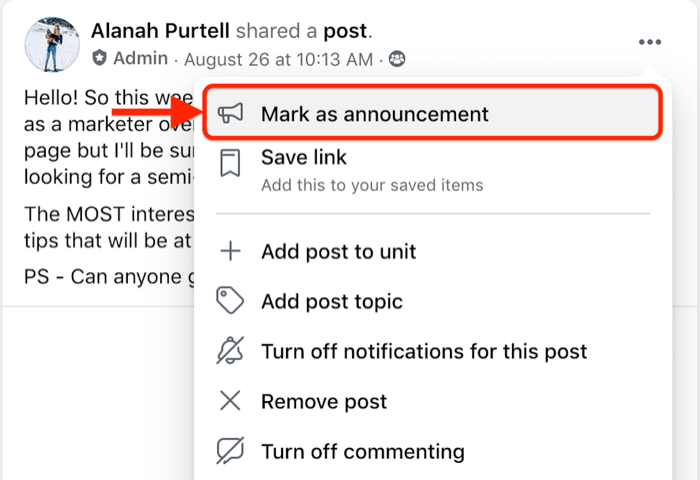 facebook group post menu option to mark a specific post as an announcement