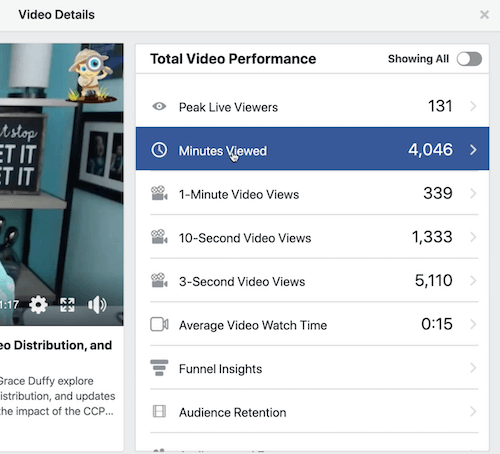facebook graph example of audience retention under the total video performance section