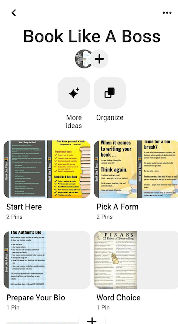 screenshot example of pinterest board sections for the book like a boss board