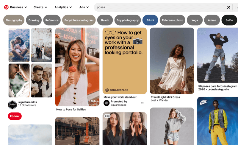 Aexample screenshot of pinterest pins showing various positioning for models and selfies when posing