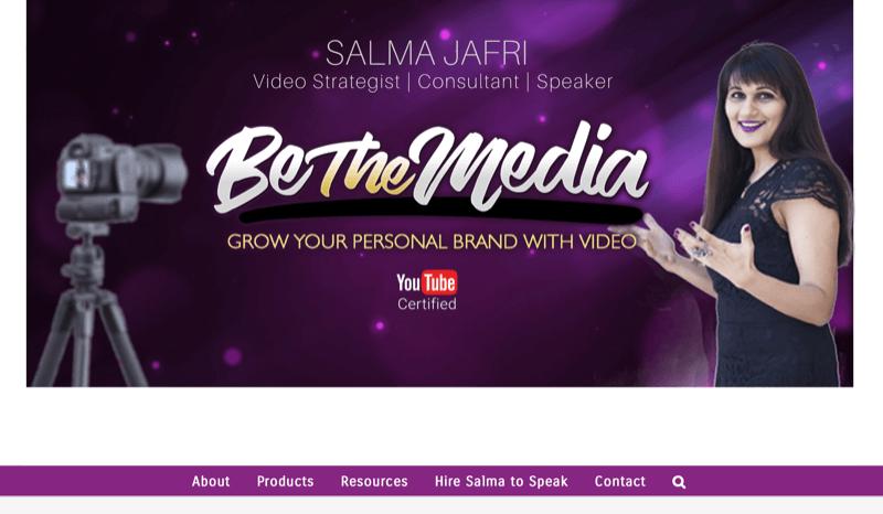screenshot of salma jafri's website noting her be the media brand