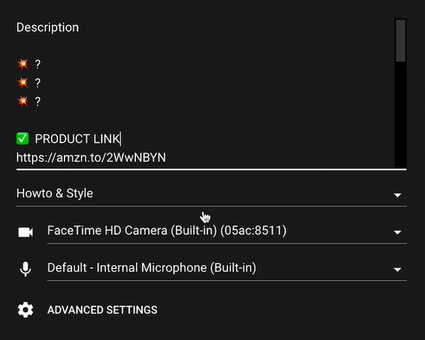 youtube video go live more settings options including a description, product link, category, camera and microphone settings, and advance settings option