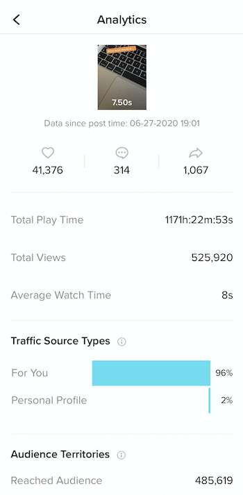 screenshot of sample analytics for a tiktok video showing post date and time, likes, comments, shares, total play time, total views, average watch time, traffic source types, and audience territories