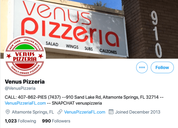screenshot of twitter profile for @venuspizzeria with contact information as the first information available