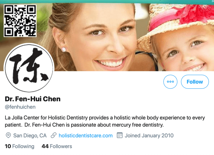 screenshot of twitter profile for @fenhuichen with a link to her website where contact information and appointment booking is available