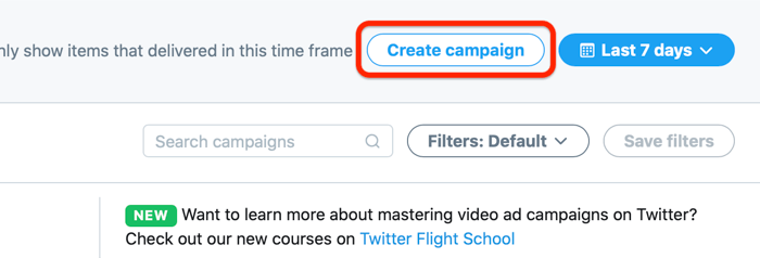 screenshot of twitter ads account and the option to create a campaign