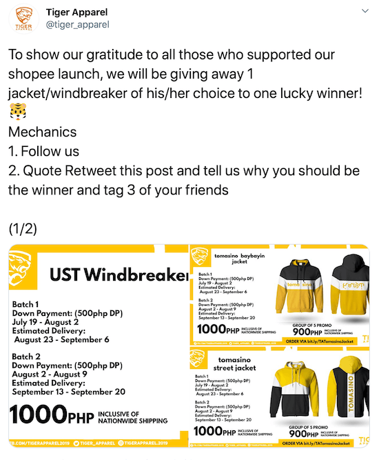 screenshot of a twitter post offering a giveaway of a windbreaker/jacket
