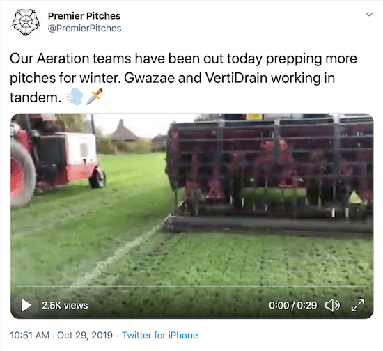 screenshot of twitter post by @premierpitches showing their team aerating their fields