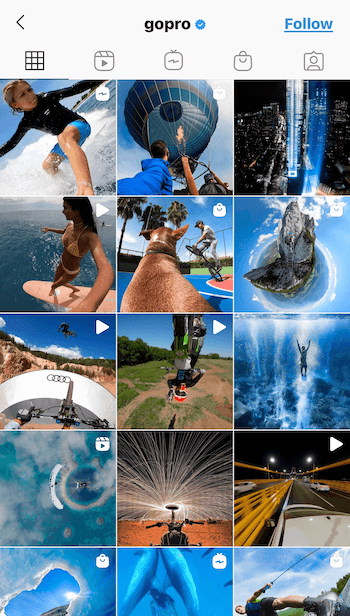 screenshot of the instagram feed for gopro with content that feels matched and cohesive