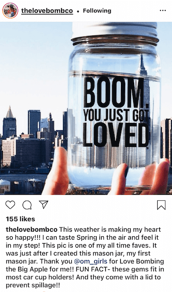 instagram post by @thelovebombco showing user-generated content of their product featured in new york city