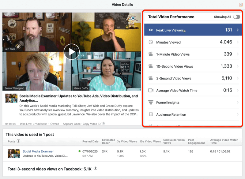 example of video data from facebook insights with total video performance data highlighted