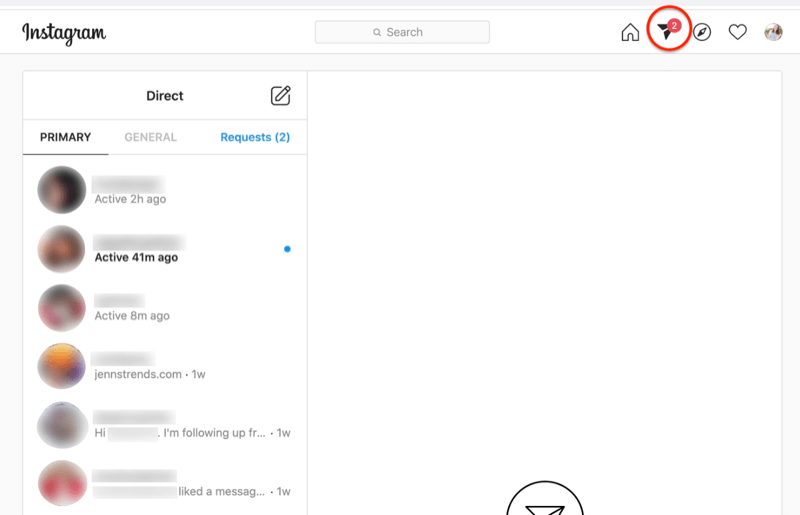 screenshot of instagram direct messages dashboard with the paper-airplane icon highlighted