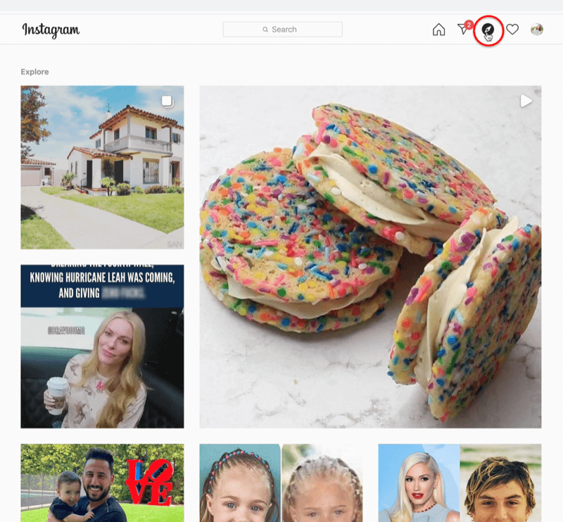 screenshot of instagram with the compass explore feed icon highlighted and several instagram posts sampled