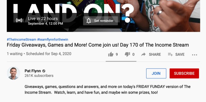 youtube video screenshot of a 'friday funday' video by Pat Flynn offering q&a, games, giveaways, and more