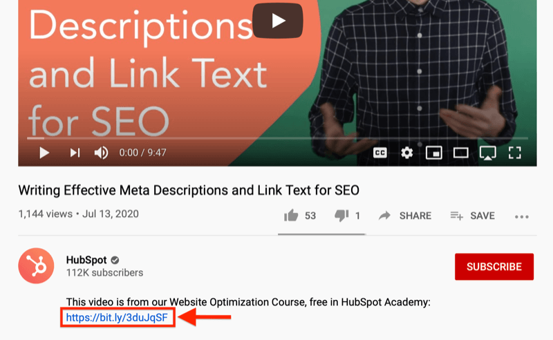 youtube video screenshot highlighting a lead-capture offer in the video description off a website optimization course
