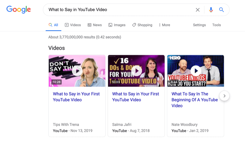 screenshot of a google search for what to say in youtube video with the video search results noted