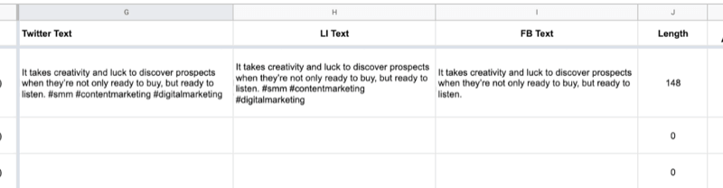 example of google sheet with partial data filled out in the twitter text, linkedin text, facebook text cells