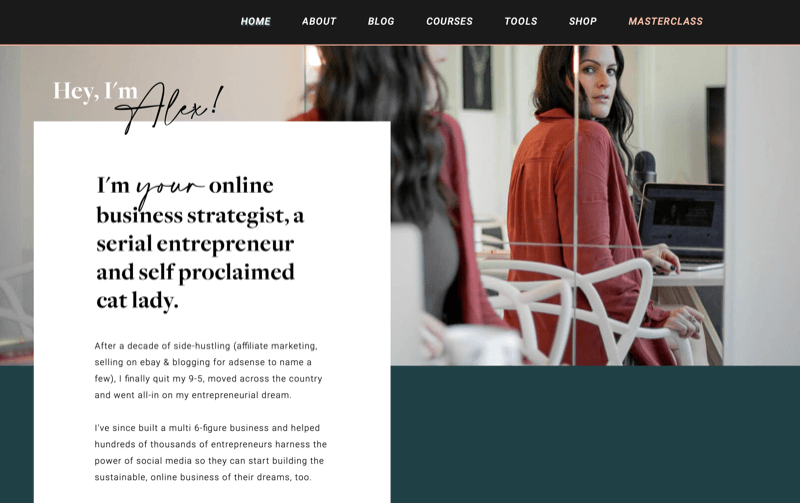 screenshot of alex's website alextooby.com with an introduction section, telling alex's story and how she came to be an instagram marketing expert