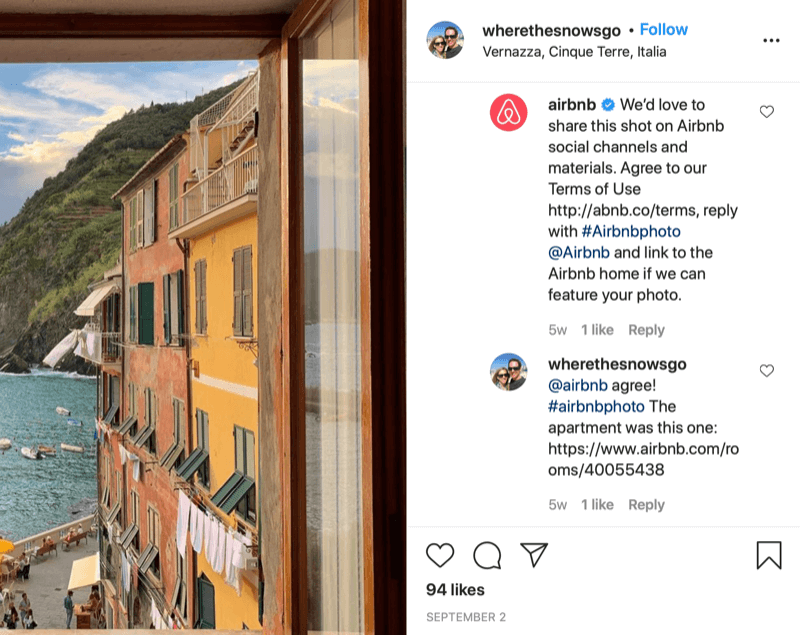 instagram written repost permission example between @wherethesnowsgo and @airbnb with airbnb asking to share the photo and info regarding how to provide approval, and the reply by @wherethesnowsgo authorizing the reshare of the picture