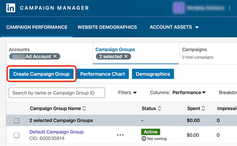 linkedin campaign manager dashboard with the create campaign group button highlighted