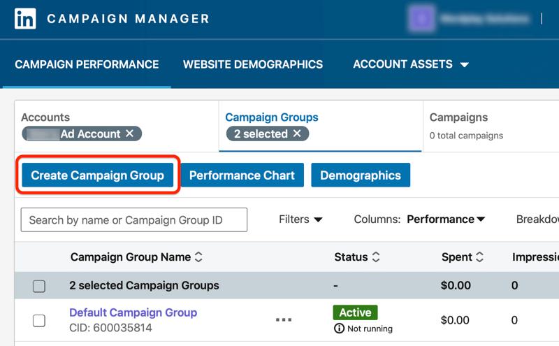 Panel de control de administrador de campaña de LinkedIn con el botón Crear grupo de campaña resaltado