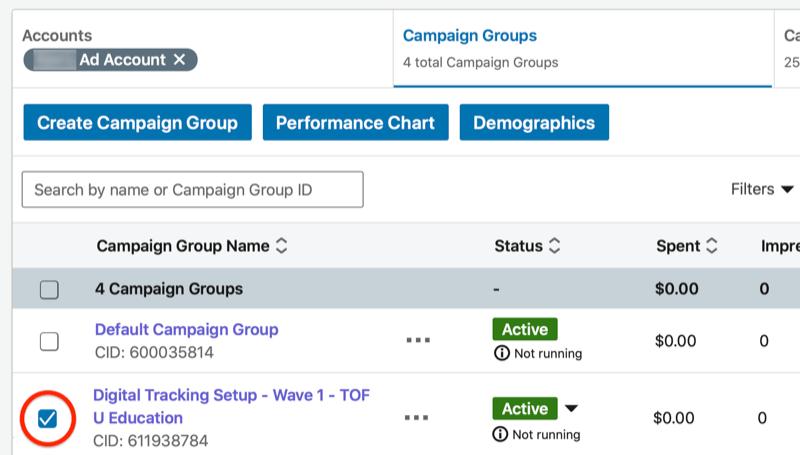 Panel de administrador de campaña de linkedin con el nuevo grupo de campaña destacado
