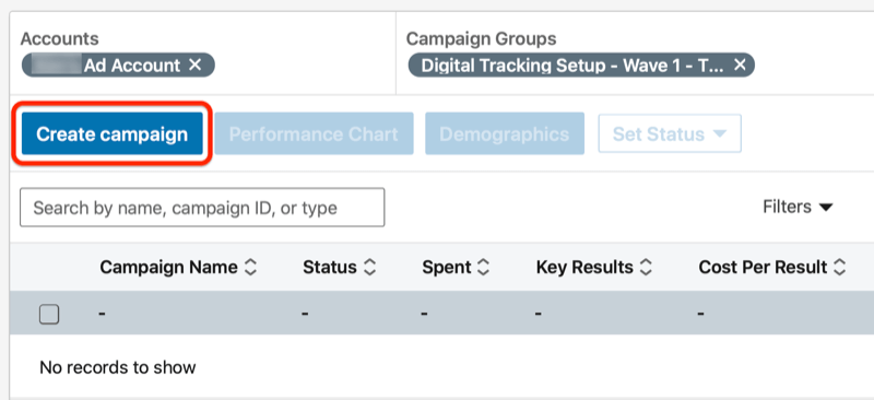 linkedin create a campaign button under the campaign group