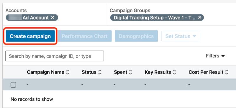 linkedin crear un botón de campaña debajo del grupo de campaña