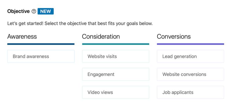 Lista de objetivos de la campaña publicitaria de LinkedIn, incluidas las visualizaciones de vídeo que se están considerando.