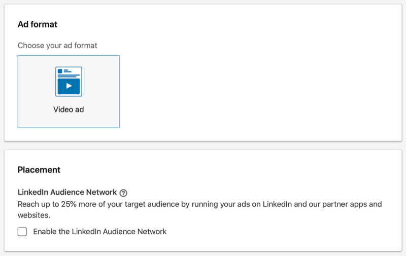 linkedin ad campaign format and placement options
