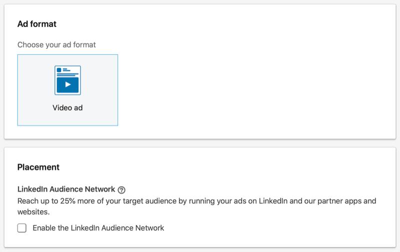 Opciones de ubicación y formato de campaña publicitaria de LinkedIn