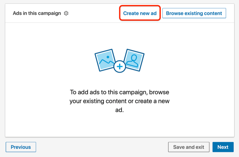 linkedin ads under the campaign with the create new ad button highlighted