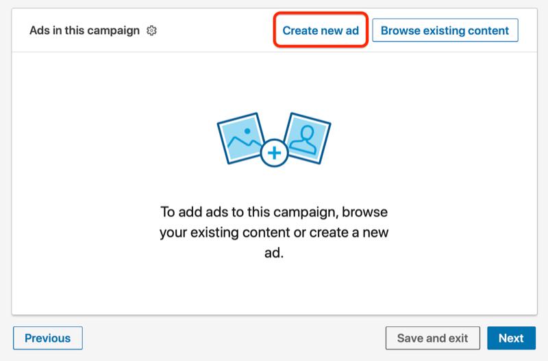 anuncios de linkedin debajo de la campaña con el botón crear nuevo anuncio resaltado