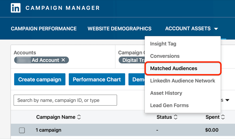 linkedin campaign manager with the matched audiences menu option highlighted