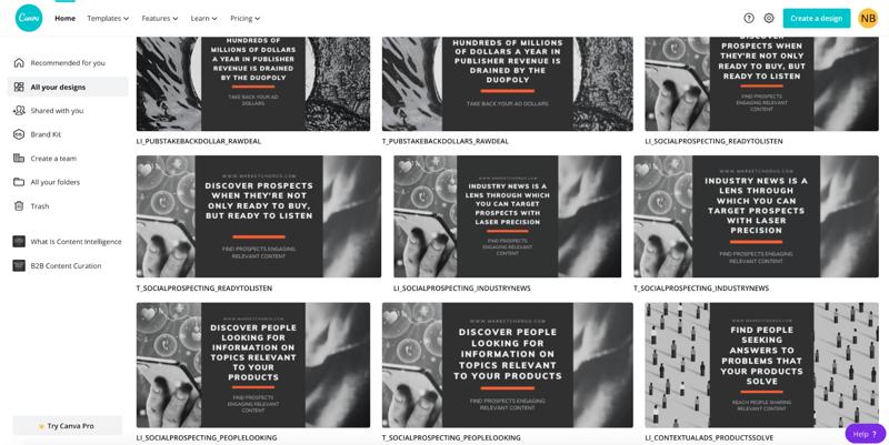 Screenshot-Beispiel von Canva mit verschiedenen Zitat-Bilddesigns, die für jeden Beitrag auf jeder Social Media-Plattform erstellt wurden.
