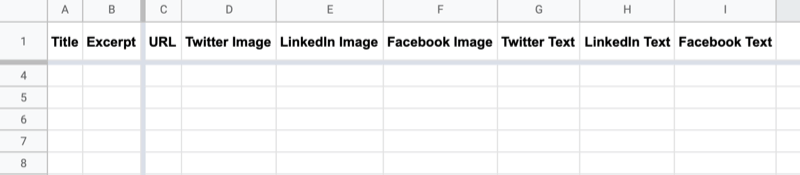 example of google sheet with headers labeled title, excerpt, url, twitter image, linkedin image, facebook image, twitter text, linkedin text, and facebook text