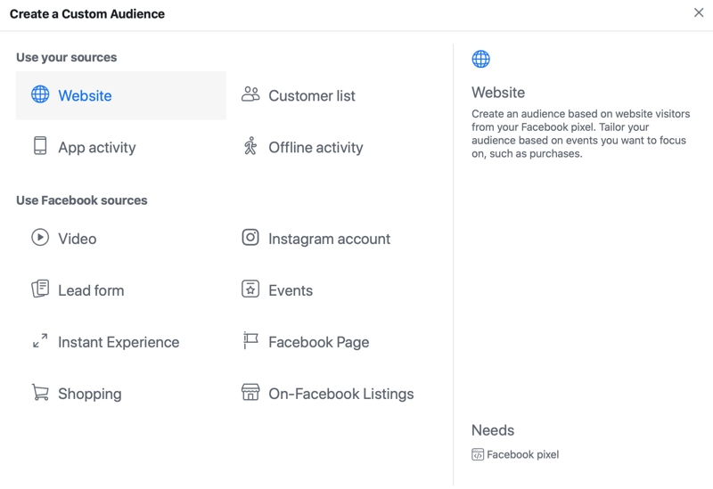 facebook ad custom audience menu options with the website source option selected