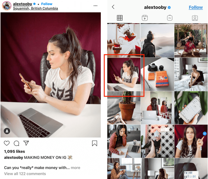 example of an instagram post by @alextooby with a custom crop position in the feed to allow for better crop and image lines