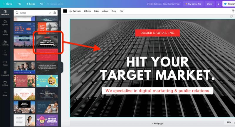 Beispiel eines Grafikdesign-Tools mit einer ausgewählten Bildvorlage für einen neuen Twitter-Post.