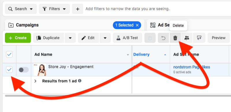 facebook ad manager ad level removal with the ad check box identified, and the trash can icon noted for easy removal of one specific ad