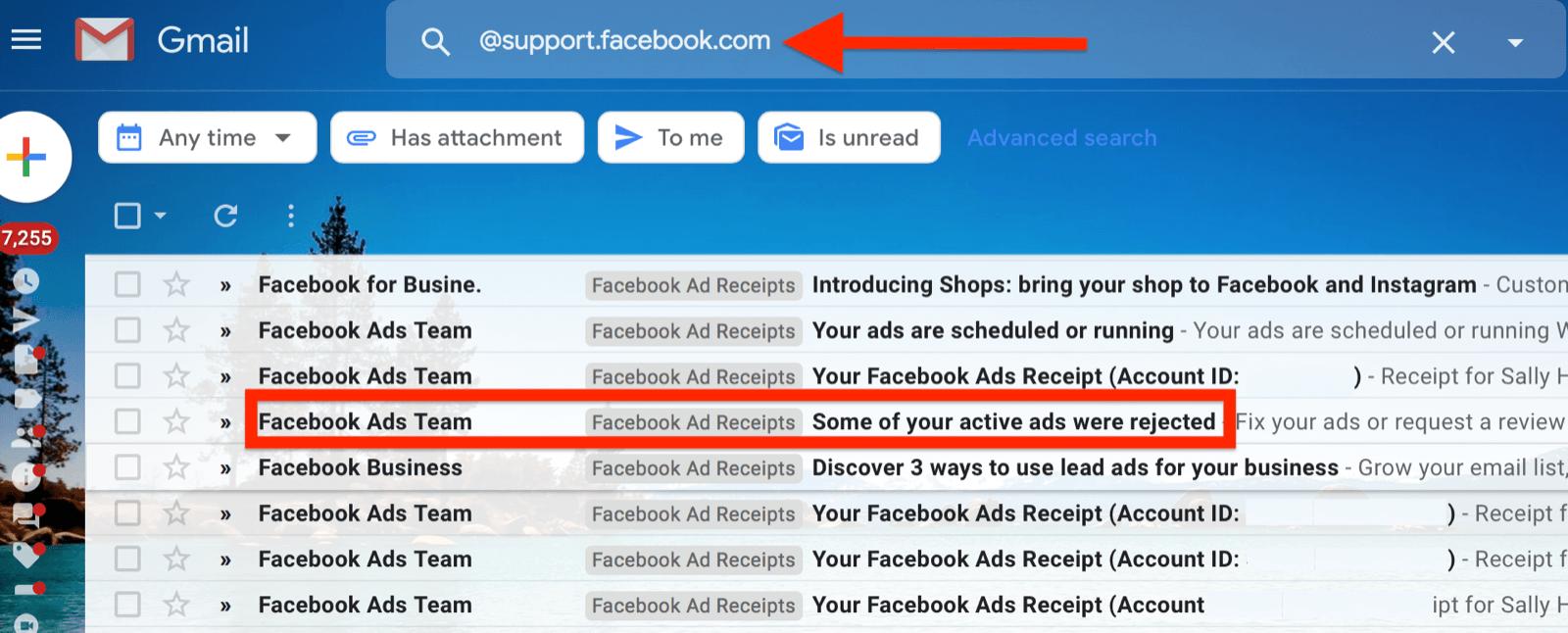 @ support.facebook.com的Gmail过滤器示例,用于隔离所有Facebook广告电子邮件通知