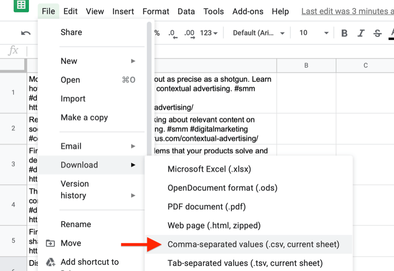 google sheet file menu highlighting the option to download with the comma-separated values option noted