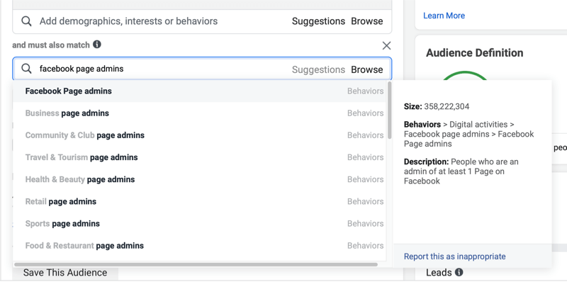 facebook ads demographics settings adding in the 'and must also match' criteria of 'facebook page admins'