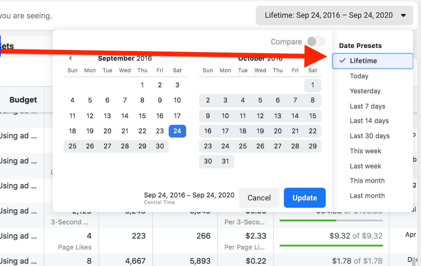 Facebook广告经理的日期范围示例,自9月以来一直有效展示广告的位置。 2016年