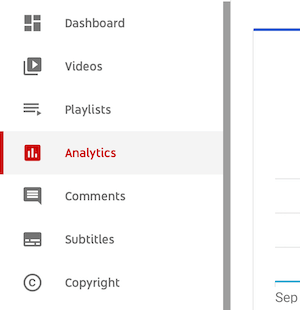 studio.youtube.com dashboard menu with the analytics option highlighted